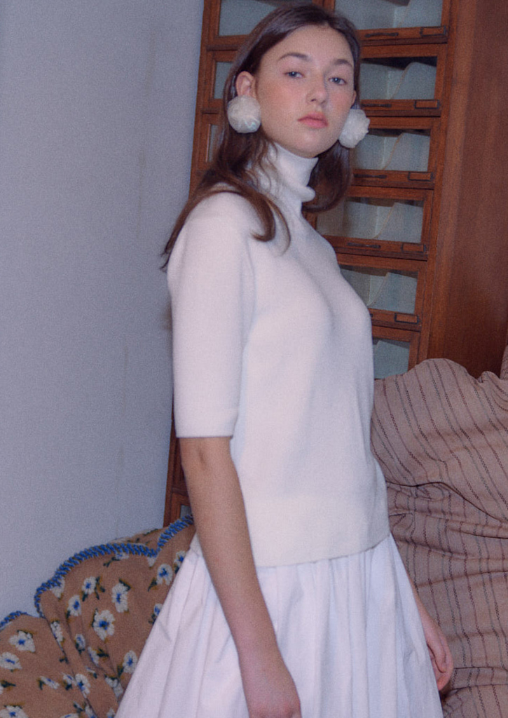 (SALE 20%)via Classic half sleeve turtleneck_white