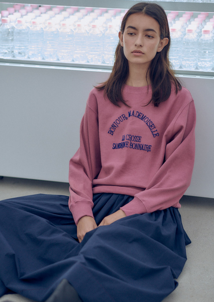 (SALE 20%)Via Bonjour sweat shirt_dusty pink