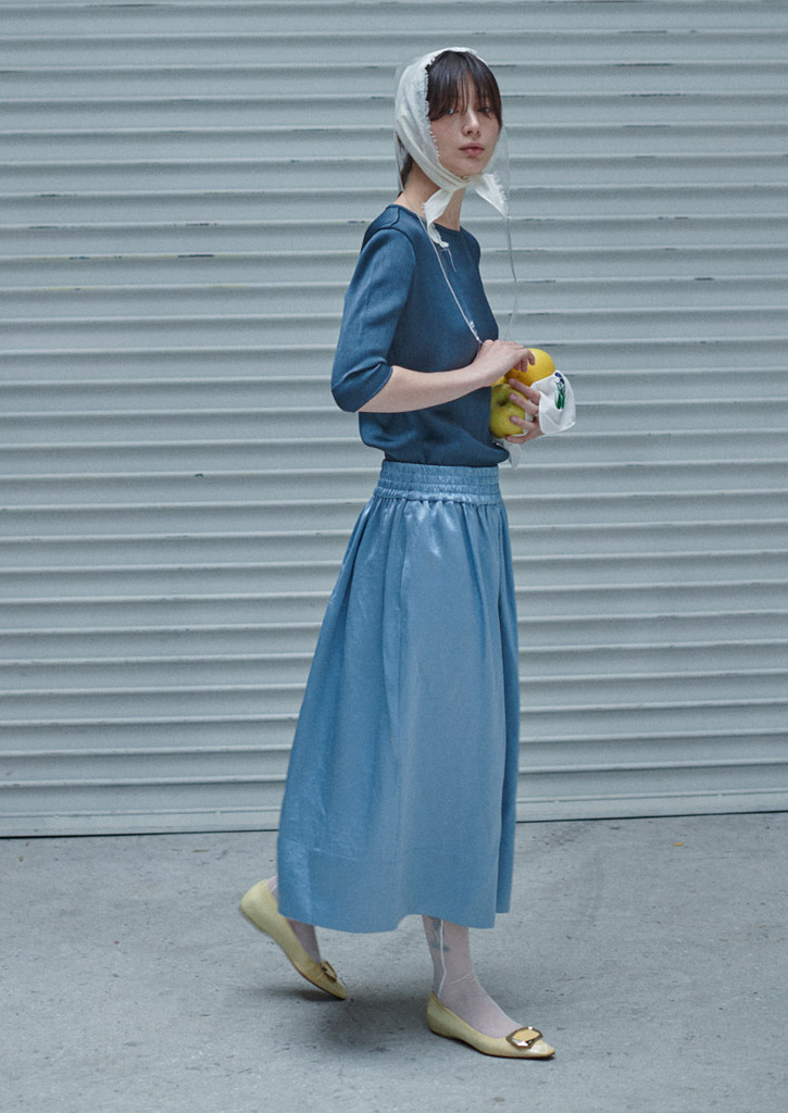 (SALE30%)via Sara midi skirt_skyblue